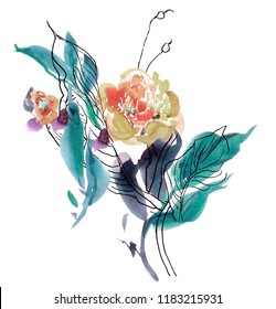 Clipart Flower Watercolor Hand Drawn Artwork Illustration Floral Composition Peony Bouquet with Leaves and Fine Lines Arrangement