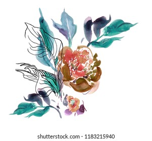 Clipart Flower Watercolor Hand Drawn Artwork Illustration Floral Composition Peony Bouquet with Leaves and Fine Lines Blue and Pink