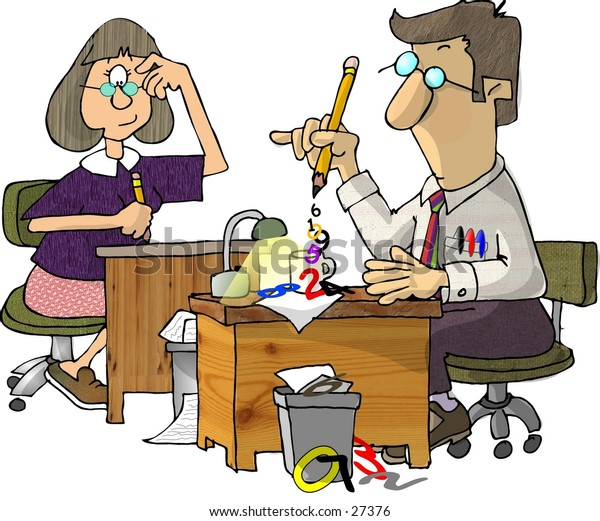 Clipart illustration of 2 accountants sitting at their desks.  Numbers are flowing from the man's pencil.