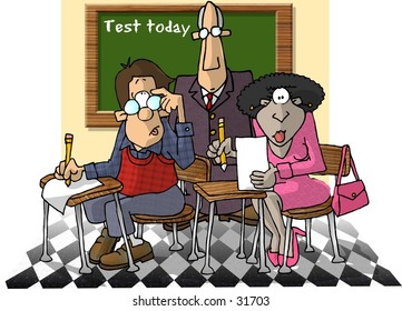 Clipart illustration of 2 students and a teacher