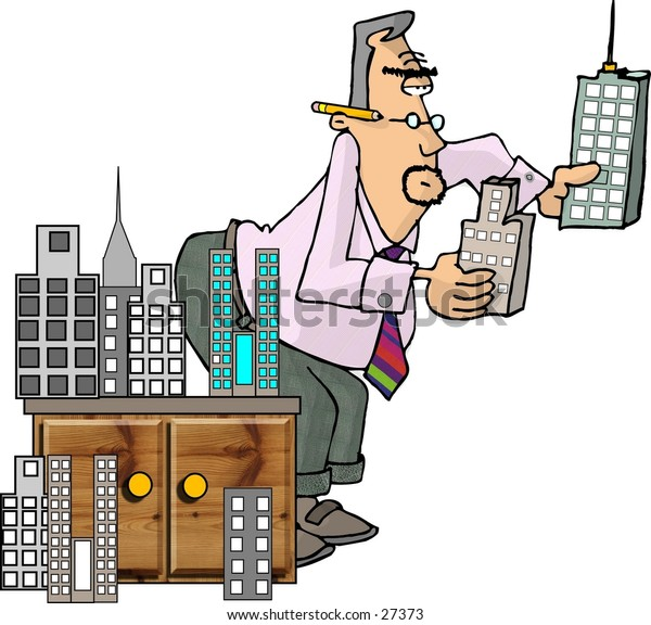 Clipart illustration of an architect comparing model buildings.