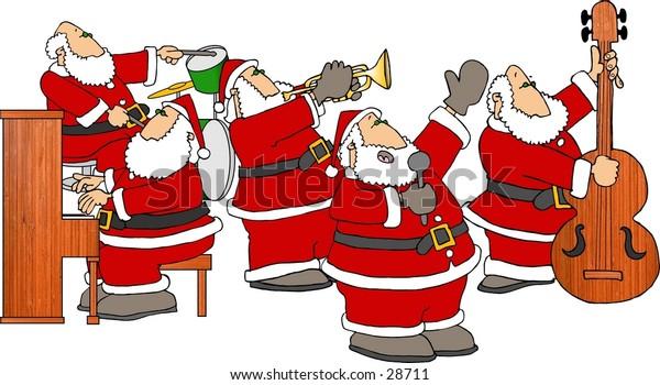Clipart illustration of a band consisting of 5 Santas