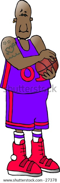 Clipart illustration of a black basketball player.