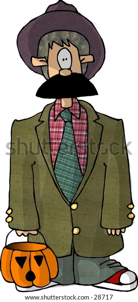 Clipart illustration of a boy drssed in an old man costume for Halloween.