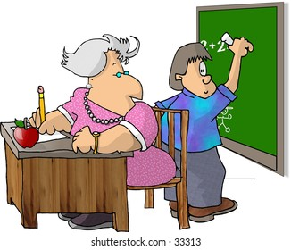 Clipart illustration of a boy and his teacher