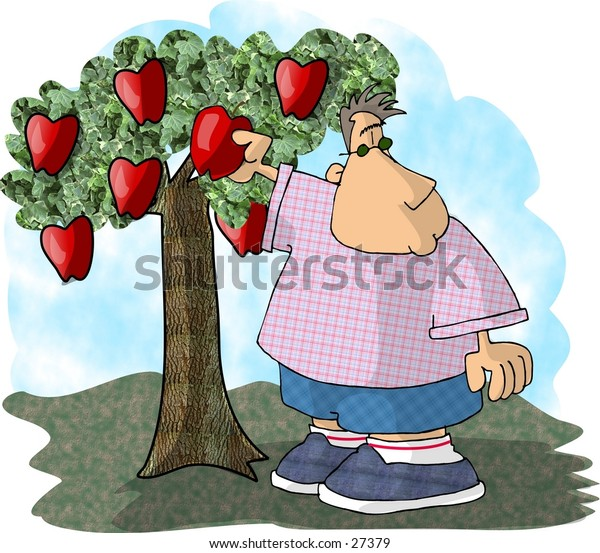 Clipart illustration of a boy picking an apple.