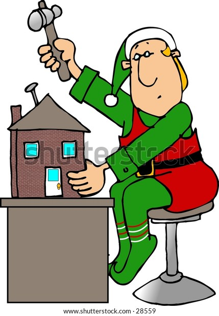 Clipart illustration of a Christmas Elf building a toy house.