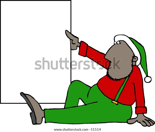 Clipart illustration of a Christmas Elf holding a blank sign