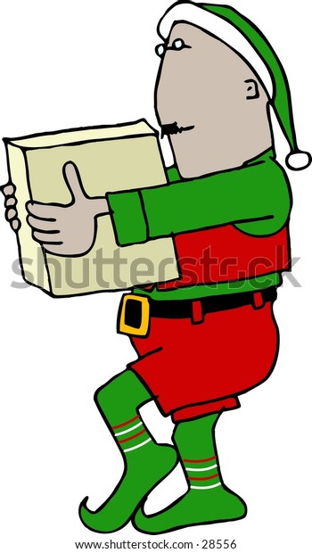 Clipart illustration of a Christmas Elv carrying a box.