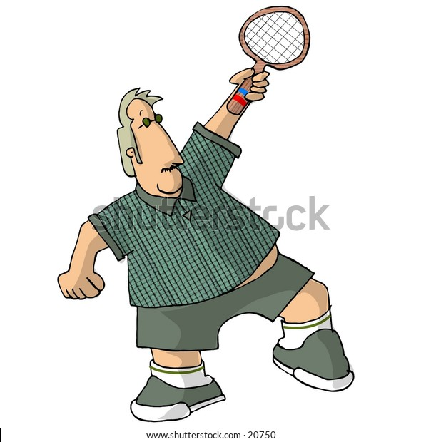 Clipart illustration of a chubby tennis player.