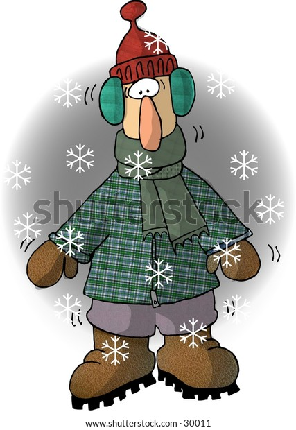 Clipart illustration of a cold man in winter clothing