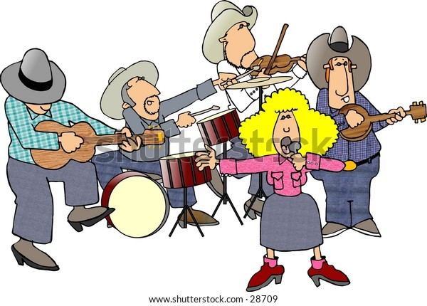 Clipart illustration of a country western band