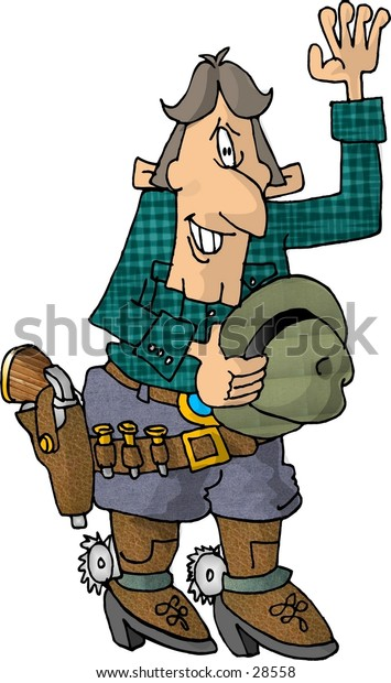 Clipart illustration of a cowboy with a large gun.