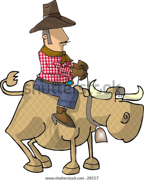 Clipart illustration of a cowboy riding a cow.