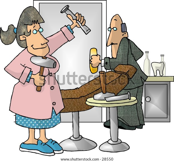 Clipart illustration of a dental hygienist.
