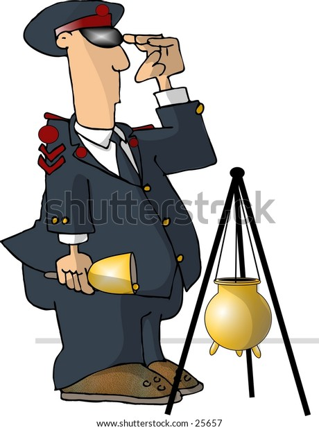 Clipart illustration of a department store bell ringer.