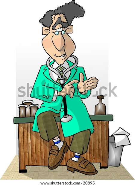 Clipart illustration of a doctor in a lab coat sitting on his desk.