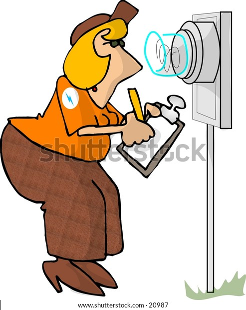Clipart illustration of an electric utility meter reader.