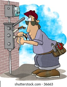 Clipart illustration of an electrician