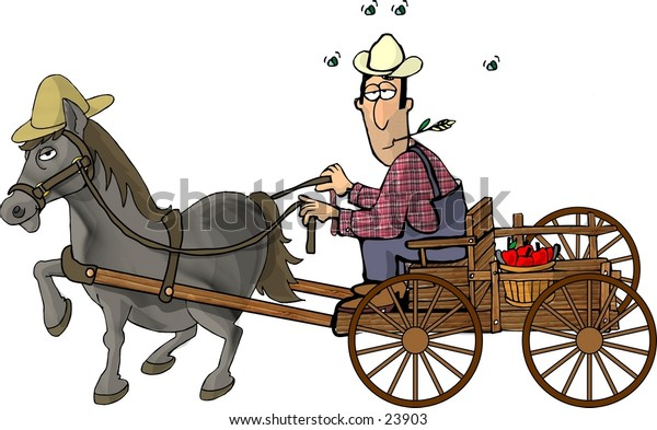 Clipart illustration of a farmer in a horse drawn wagon.