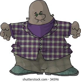 Clipart illustration of a fat man