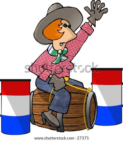 clipart illustration female barrel racer only stock illustration