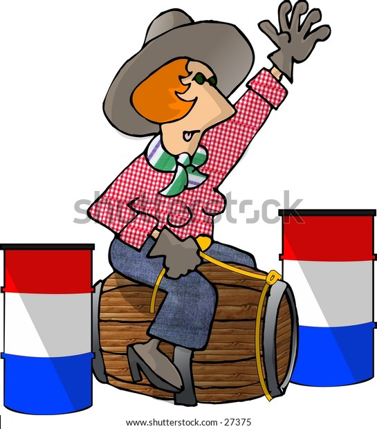 Clipart illustration of a female barrel racer only she's racing a wooden barrel.