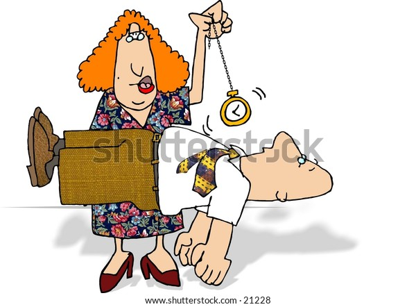 Clipart illustration of a female Hypnotist swinging a watch, the man in the trance is levitating.