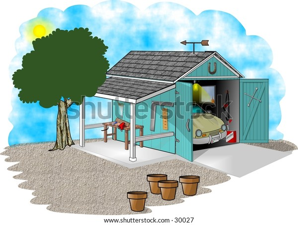 Clipart illustration of a garage with a car and attached patio