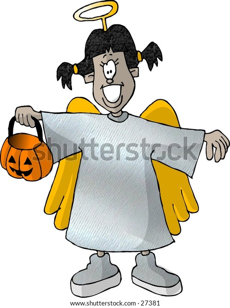 Clipart illustration of a girl in an angels costume.
