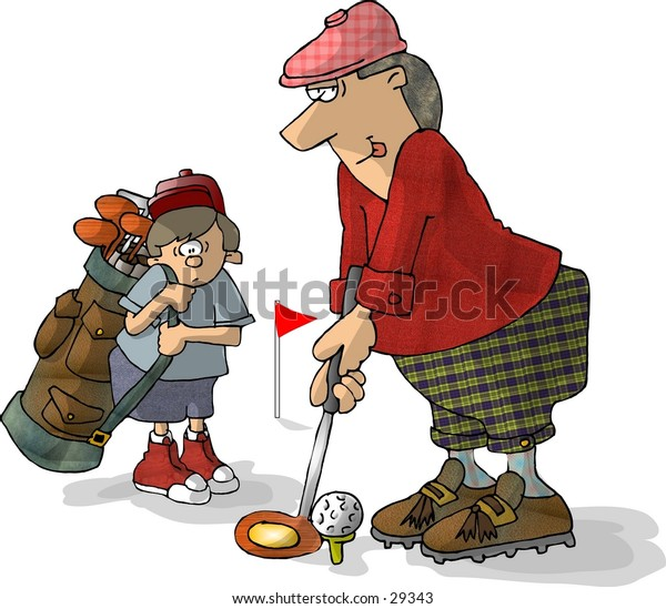 Clipart illustration of a golfer with his caddy looking on.