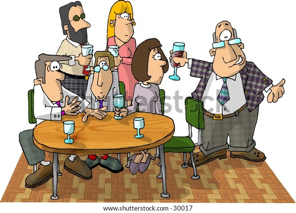 Clipart illustration of a group of people having a drink.