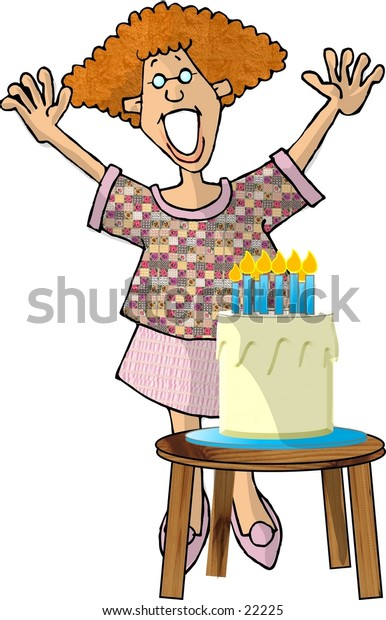 Clipart illustration of a happy girl standing behind a birthday cake.