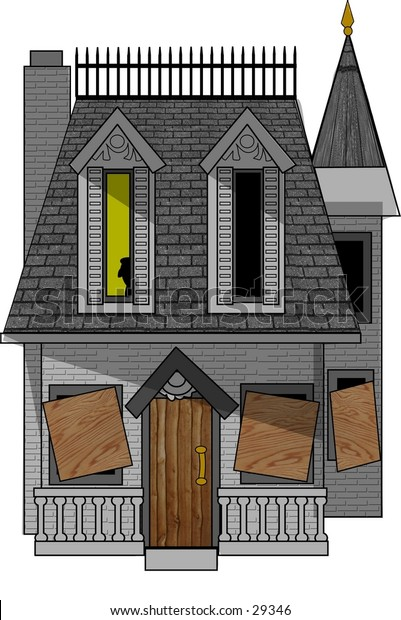 Clipart illustration of a haunted mansion.
