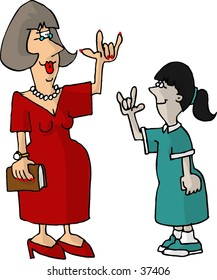 Clipart illustration of a hearing impaired teacher and student
