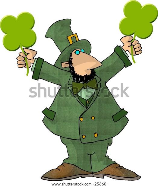 Clipart illustration of an Irish Leprechaun holding 2 four leaf clovers.