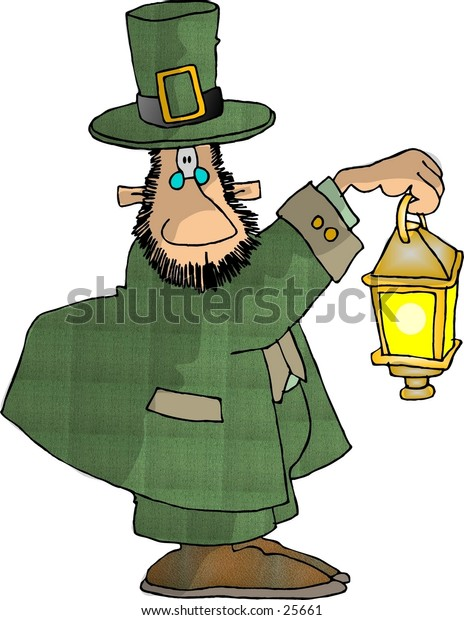 Clipart illustration of an Irish Leprechaun holding a lantern.
