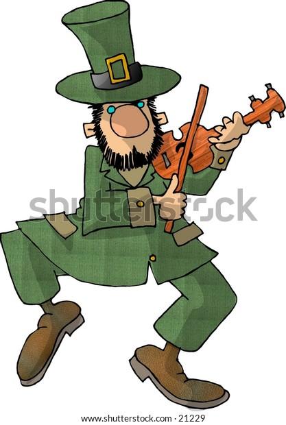 Clipart illustration of an Irish Leprechaun playing a fiddle.