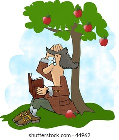 Clipart illustration of Isaac Newton after an apple hit his head