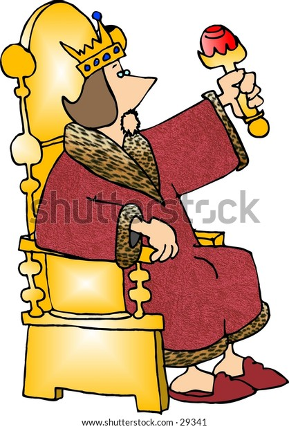 Clipart illustration of a king seated on his throne.