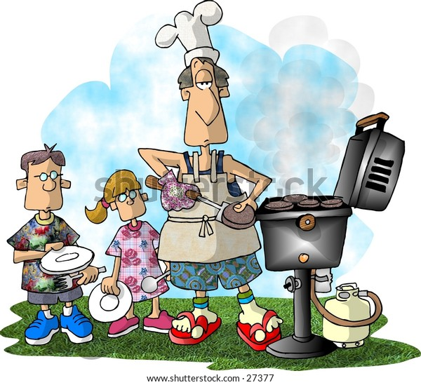 Clipart illustration of a man barbequeing hamburgers.
