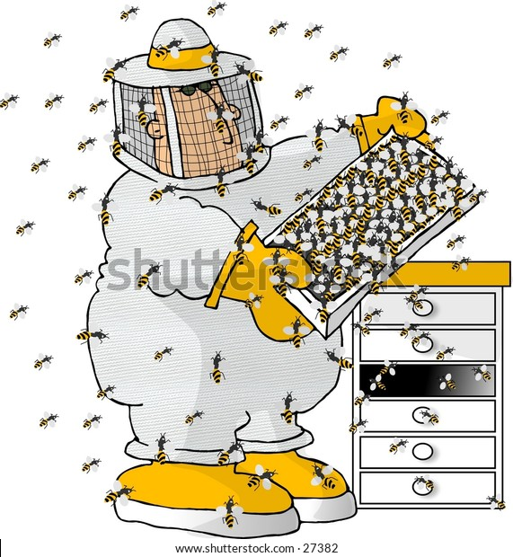 Clipart illustration of a man in a beekeepers outfit checking a beehive.
