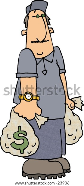 Clipart illustration of a man carrying 2 money bags.