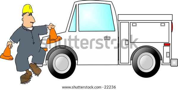Clipart illustration of a man in coveralls setting out safety cones by a truck.