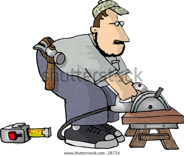 Clipart illustration of a man cutting wood with a power saw.