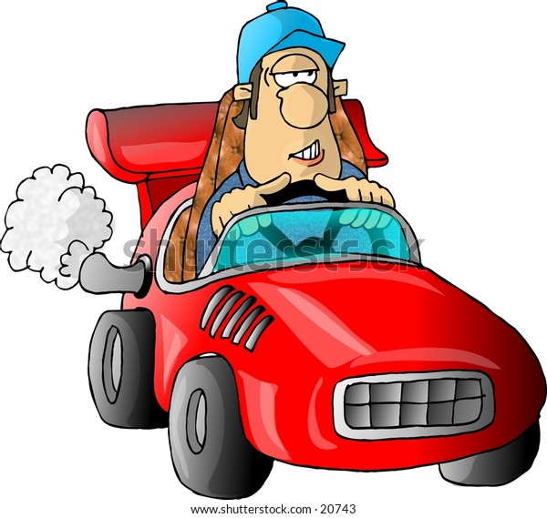 Clipart illustration of a man driving a red race car.