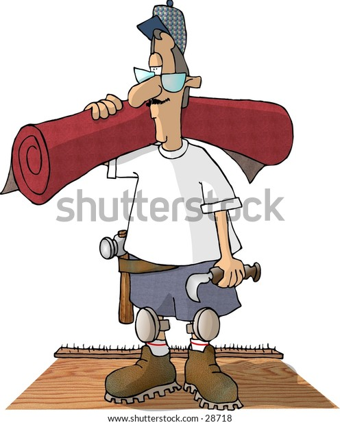 Clipart illustration of a man laying carpet.