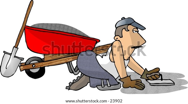 Clipart illustration of a man laying cement.