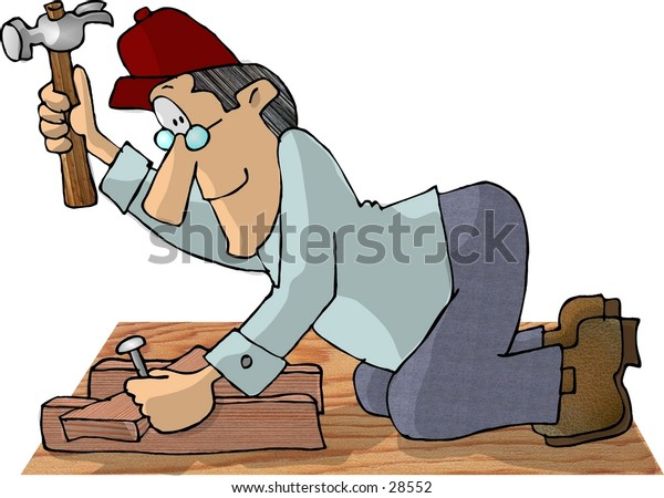Clipart illustration of a man nailing pieces of wood together.