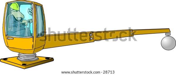 Clipart illustration of a man operating a crane